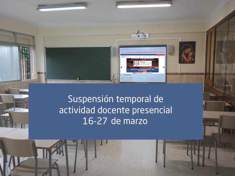 Suspensión temporal de actividad docente TRINITARIAS